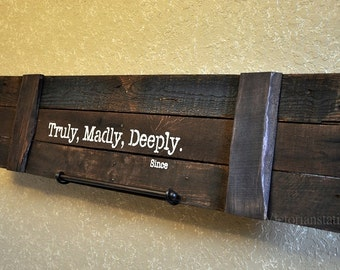 Large rustic wood sign customized with your wedding date FREE SHIPPING Truely,Madley,Deeply ,Shabby chic,distressed wood