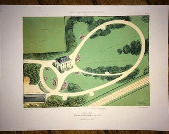 1850 GARDEN VIEW original antique botanical garden print lithograph of parks and gardens near paris france