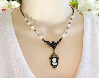 Cameo Necklaces, Beaded Necklaces, Victorian Necklaces, Cameo Jewelry, Cameo, Bead Necklaces, Cameos, Victorian Cameo Necklace, Beaded, N321
