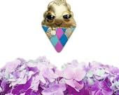 Rainbow I-Scream Brooch, ice-cream brooch, dessert jewelry, ice-cream jewelry, vegan necklace, vegan jewelry