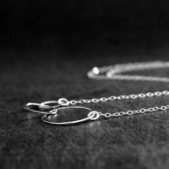 Silver Linked Circles Necklace, Sterling Silver Jewelry, Three Entwined Sterling Silver Circles Necklace