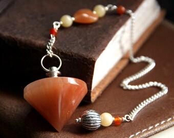 Carnelian Pendulum. Aragonite and Red Aventurine Pendulum. Divination Tool. Dowsing Pendulum. Spirituality Tool. New Age Healing Pendulum.