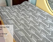 Ships Fast- Changing Pad Cover in Grey Arrow Fabric