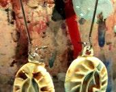 Small Ceramic LEAF earrings glazed in Mocha Marble