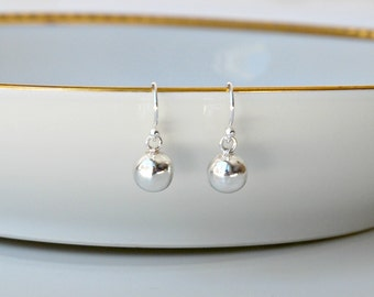 Silver ball earrings, sterling silver earrings, ball drops, modern, minimal, 8mm balls, simple jewelry, littleglamour gift for women, Albany