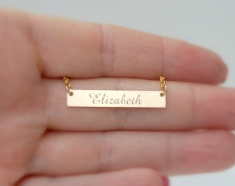 Custom name bar necklace, engraved gold bar necklace, wedding date, initials, monogram, mommy necklace, personalized jewelry - Theresa