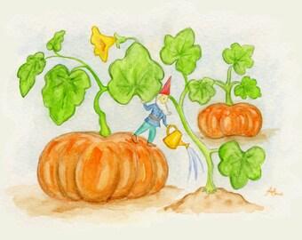 "Pumpkin Gnome 5x7"" PRINT"