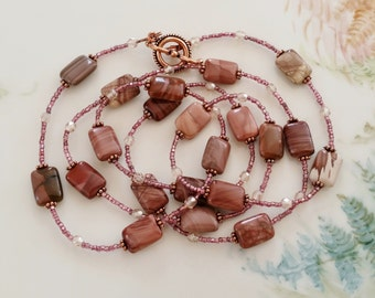 Long Vintage Bead and Royal Imperial Jasper Necklace