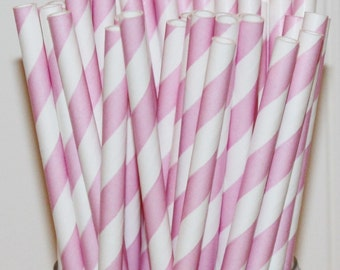 Paper Straws, Blush Pink Striped Paper Straws, Girls Birthday Party Straw, Wedding Straws, Paper Drink Straws, Retro Paper Straws, Princess