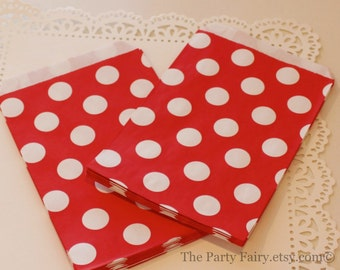 Red Paper Bags, 24 Red Polka Dot Favor Bags, Candy Bags, Birthday Party Favor Bags, Red Paper Bags, Carnival Party  Favor Bags, Popcorn Bag