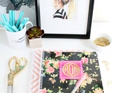 Personalized Spiral Notebook - FLORAL Collection - Gold Effect Monogram - By A Blissful Nest
