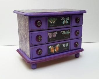 Purple Shabby Chic Hand Painted vintage  Jewelry Box with French Butterfly Decoupage