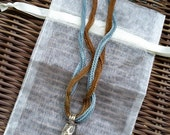 Morning Fog Necklace, Blue Chalcedony Tibetan Pendant on Silk Ribbon