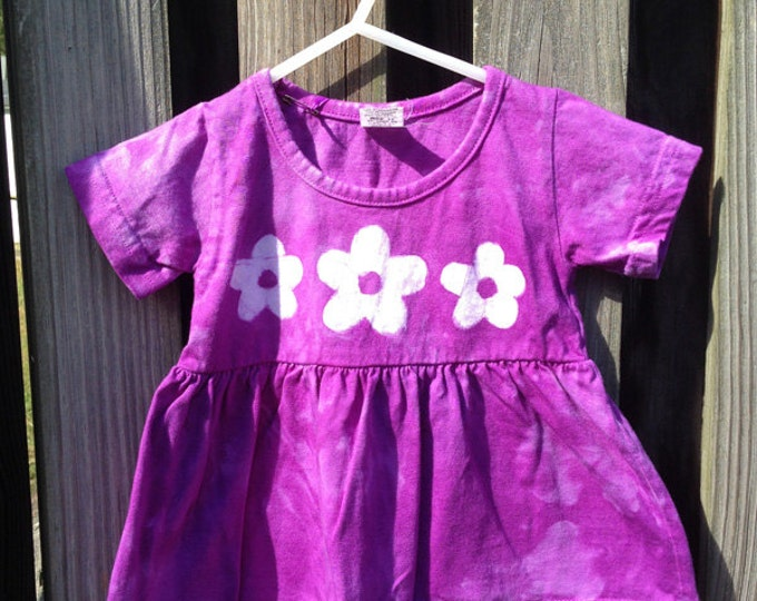 Purple Flowers Baby Dress, Flower Baby Girls Dress, Purple Baby Girls Dress, Short Sleeve Baby Dress (12 months)