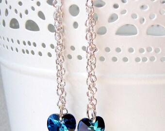 Bermuda Blue Swarovski Heart Earrings, Dangle Earrings made with Swarovski crystal, Bermuda Blue earrings, Bridal earrings, Crystal earrings