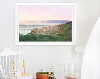 San Francisco Sunset // Oversized Photograph California Cliffs // Large Photography of Violet Lavendar Purple Light with Bright Green Cliffs
