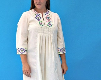 Vintage 1980s Hippie Folk Embroidered Caftan And Choir Robe