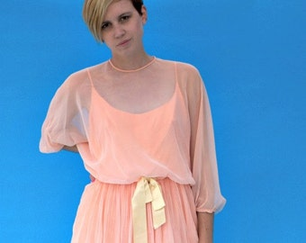 Vintage 1970s Retro Peach Formal Dress With Chiffon Blouse