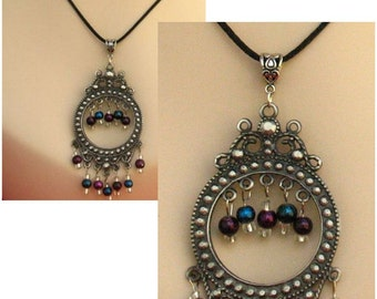 Boho Purple & Blue Chandelier Necklace Jewelry Accessories Handmade Women NEW