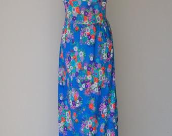 Vintage 1960s Flower Power Halter Festival Sun Dress