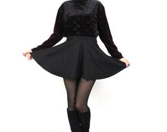 90s Fendi Top Velvet Shirt Designer Logo Cyber Goth Black Red Long Sleeve Turtleneck Top (L)