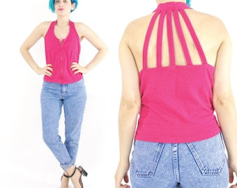 40% OFF SALE 1990s Cage Tank Top Cut Out Back Tank Fuchsia Crop Top Sleeveless Strappy Sporty Zip Up Plus Size Sexy Workout Top (XL) E320