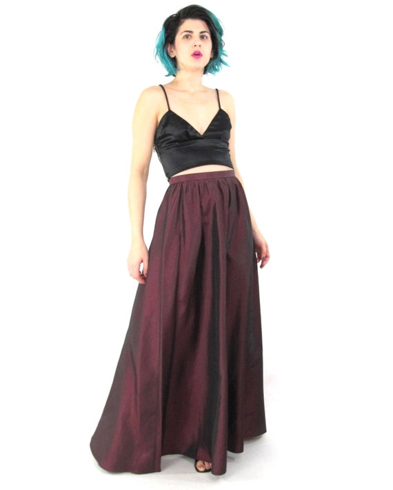 90s High Waisted Formal Maxi Skirt Minimalist Long Prom Skirt