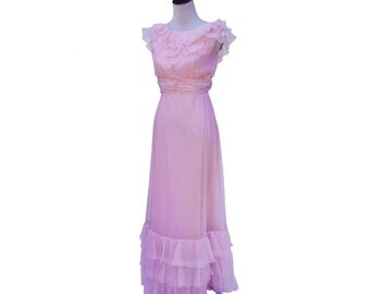 NOS New Vintage Pink Ruffle Prom Party Dress NWT Sz 8 Fits like 2-4