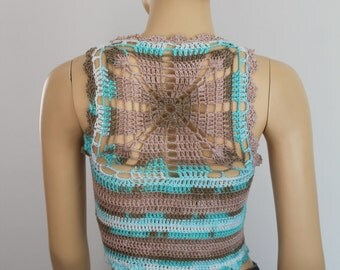 Ready to ship - Cotton Ivory Turquoise Beige Crochet Tank ,Top , Halter ,Mandala Pixie Vest -  Summer - Boho Chic