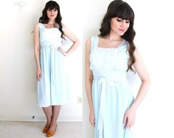 Vintage Nightie / 1960s Nightie / 60s Light Blue Nightgown