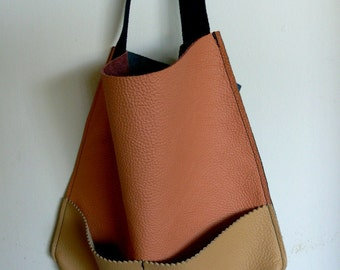 Color Block Full Grain Italian Leather Shopper Tote with front Pocket in Salmon, Tan, and Blue