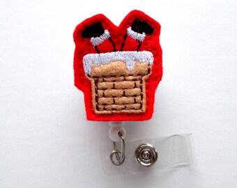 Chimney Santa - Retractable ID Felt Badge Holder - Christmas Badge Reel - Nurses Badge Holder - Medical Badge - Teacher Badge