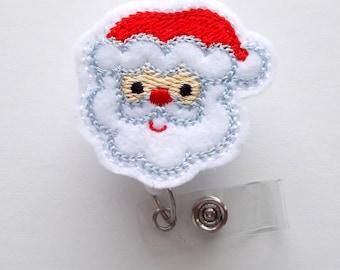 Santa Claus Curly Hair - Retractable ID Felt Badge Holder - Christmas Badge Reel - Nurses Badge Holder - Medical Badge - Teacher Badge