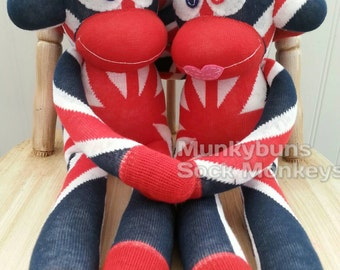 Union Jack Sock Monkey Doll - Large