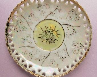 Antique/Vintage Heart-Shaped, Cutwork Hearts, Opalescent Porcelain Plate - Gilt, Cream, Soft Yellow, Floral, Light Stars