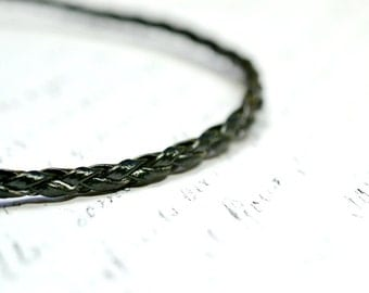 Black Braided Leather Necklace, Black Cord, Jet Black Leather Cording, Finished Necklace Add a Pendant 18 inches