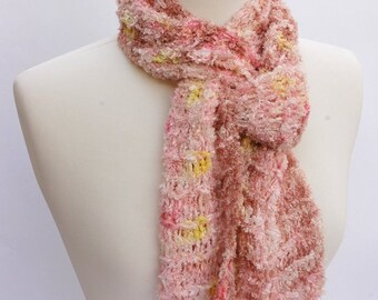 Hand Knit Scarf- Viscose/ Cream/Pink/Yellow/Rose/ Dusty Peach