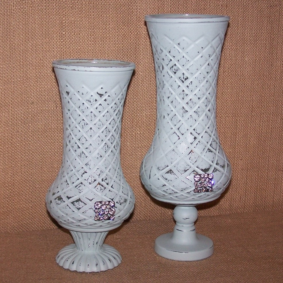 shabby chic mint green vases pedestal vases by. Black Bedroom Furniture Sets. Home Design Ideas