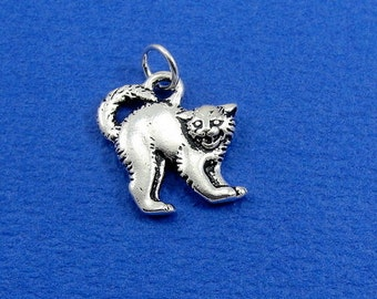 Scaredy Cat Charm - Silver Scaredy Cat Charm for Necklace or Bracelet