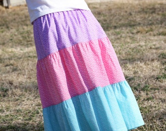 Little Girls Long Modest Spring Easter Pastel Pink, Purple, and Teal Tiered Peasant Skirt Size 3/4 & 4/5