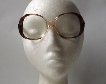 vintage 1960's NOS eyeglasses round plastic frames brown clear driftwood womens prescription mid century modern retro eye glasses eyewear