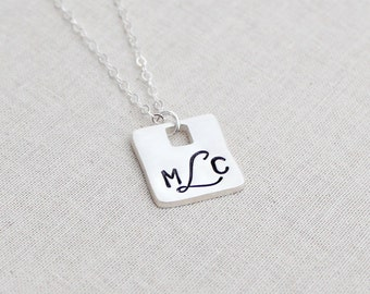 3 Letter Monogram Necklace Sterling Silver, Script Font, Personalized Monogram Jewelry, Square, 3 Initials