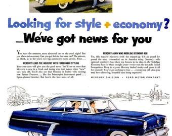 1952 Mercury Car Advertisement Print Poster Wall Hanging Art Home Decor Classic Automobile Vehicle Mechanic Shop Garage Nostalgic Heinz