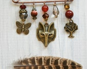 Bronze Fox Brooch, with a Butterfly and Tree Charms. Handmade Jewellery.
