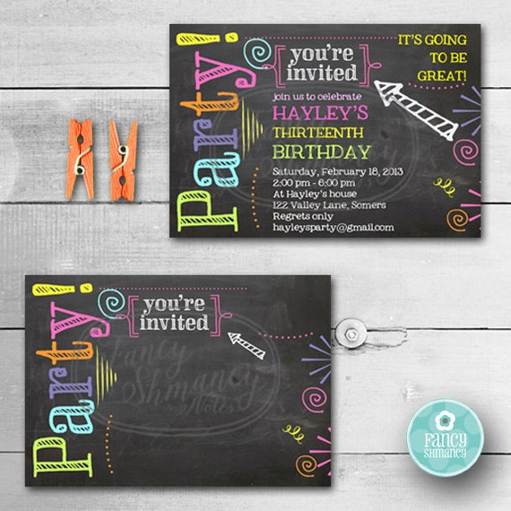 birthday invitation chalkboard invitation neon colors