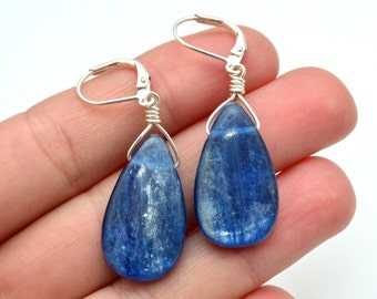 Kyanite TRANQUILITY Earrings with Blue Kyanite Teardrops and Sterling Silver Wire Wrapping. Stone Crystal Earrings Jewelry