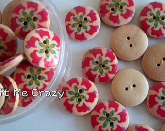 """Bright Hibiscus - 5 Wooden Buttons (3/4"""") - Red / Teal"""