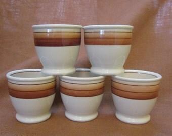 ON SALE 5 Egg Cups Vintage Restaurant Ware Mayer True Ivory La Mure Brown Striped Eggcups