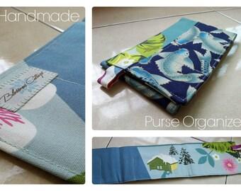 24 inch / 7 pockets Purse / Bag Organizer Insert - (medium) koi fish print cotton fabric