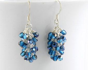 Dark Aqua Azure Cascade Earrings with Sterling Silver or Steel Ear Wires
